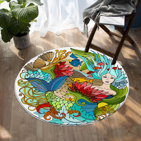 Coastal -The Happy Mermaid Round Floor Mat-Coastal Passion
