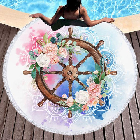 Coastal Round Beach Towel-Flowery Helm Mandala Round Beach Towel-Coastal Passion