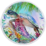 Coastal Round Beach Towel-The Original Tropical Sea Turtle Round Beach Towel-Coastal Passion