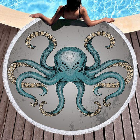 Coastal Round Beach Towel-Octopoda Round Beach Towel-Coastal Passion