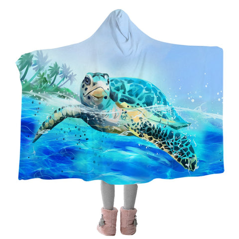 Sea Turtle Life Cozy Hooded Blanket-Coastal Passion