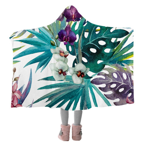 Tropical Orchids Cozy Hooded Blanket-Coastal Passion