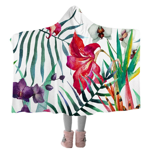 Tropical Floral Cozy Hooded Blanket-Coastal Passion