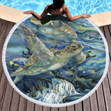 Coastal Round Beach Towel-Oceanic Round Beach Towel-Coastal Passion