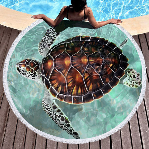 Coastal Round Beach Towel-Turtle Chic Round Beach Towel-Coastal Passion