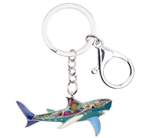 Shanty Shark - Enamel Pendant Key Ring-🇦🇺 Australian Coastal Passion