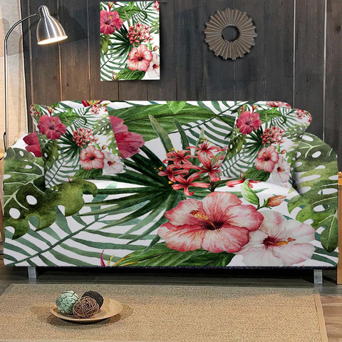 Coastal Sofa Slipcover-Tropical Hibiscus Couch Cover-Coastal Passion