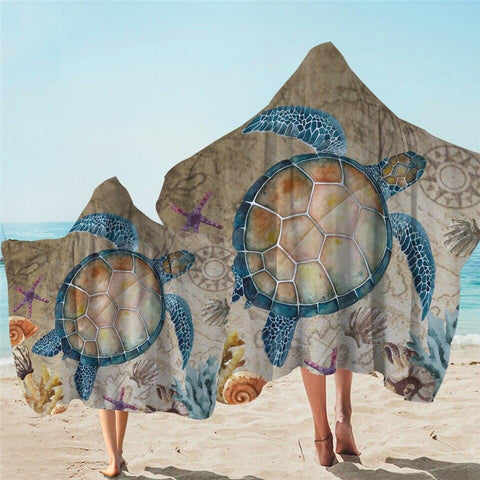 Coastal Hooded Towel-The Original Turtle Island Hooded Towel-Coastal Passion