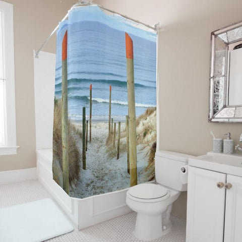 To The Beach Shower Curtain-Shower Curtain-Australian Coastal Passion