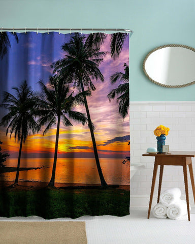 Tropical Sunset Shower Curtain-Shower Curtain-Australian Coastal Passion