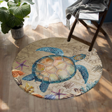 Coastal -Turtle Island Round Floor Mat-Coastal Passion