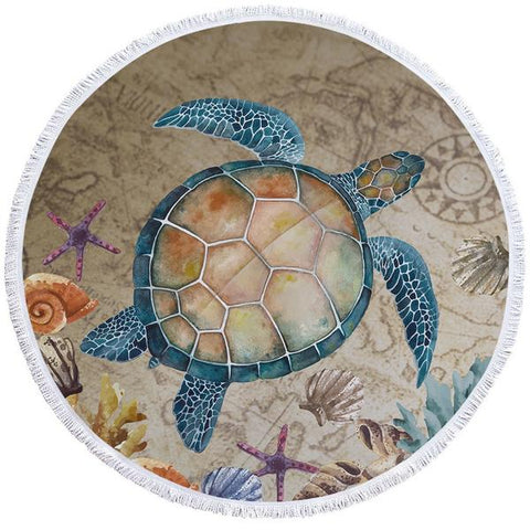 Coastal Round Beach Towel-The Original Turtle Island Round Beach Towel-Coastal Passion