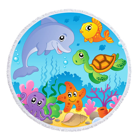Under The Sea Playground - Baby Size 100 cm-Round Beach Towel-Australian Coastal Passion