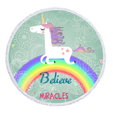 Rainbow Unicorn - Baby Size 100 cm-Round Beach Towel-Australian Coastal Passion