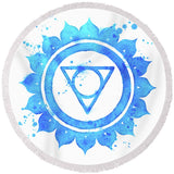7 Chakras Fun Beach Towel Collection-Round Beach Towel-Vishuddha Chakra Round Beach Towel-Australian Coastal Passion