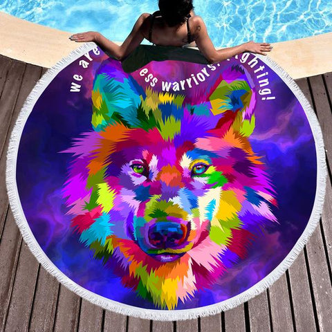 Wolf Rainbow Round Beach Towel