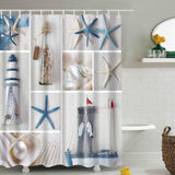 Sea Shells & Starfish Shower Curtain-Shower Curtain-Australian Coastal Passion
