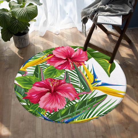 Coastal -Tropical Hibiscus Round Floor Mat-Coastal Passion