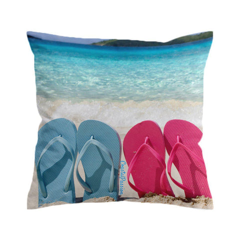 Blue & Pink Flip Flops Cushion Cover-🇦🇺 Australian Coastal Passion