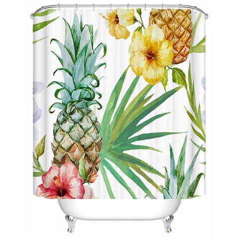 Tropical Pineapple Shower Curtain-Shower Curtain-Australian Coastal Passion