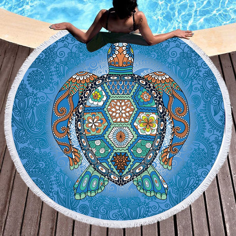 The Original Turtle Totem Round Beach Towel-Round Beach Towel-Australian Coastal Passion
