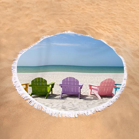 Coastal Round Beach Towel-Beachy Dream Round Beach Towel-Coastal Passion
