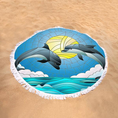 Coastal Round Beach Towel-Dolphin Dancing Round Beach Towel-Coastal Passion