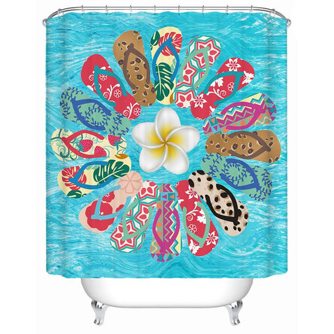 The Flip Flop Flower Shower Curtain-Shower Curtain-Australian Coastal Passion