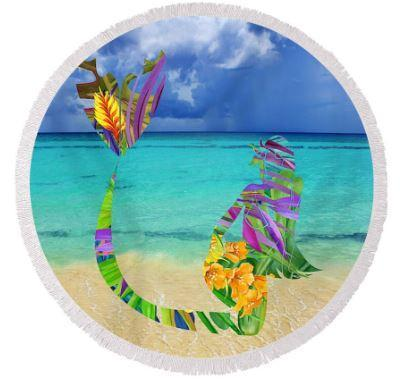 Coastal Round Beach Towel-Mermaid Bay Round Beach Towel-Coastal Passion