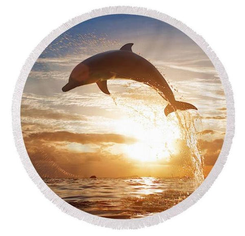 Coastal Round Beach Towel-Sunset Dolphin Round Beach Towel-Coastal Passion
