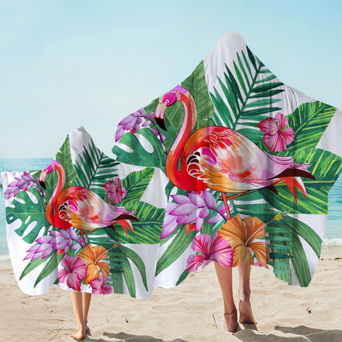 Coastal Hooded Towel-Tropical Flamingo Hooded Towel-Coastal Passion