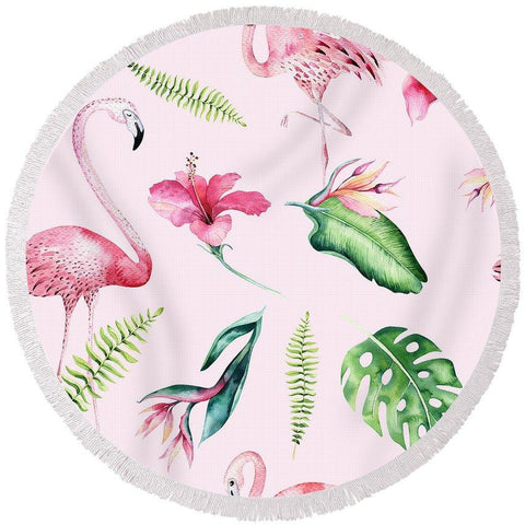 Flamingo And Hibiscus Round Beach Towel-Round Beach Towel-Adult: 150 cm diameter-Australian Coastal Passion