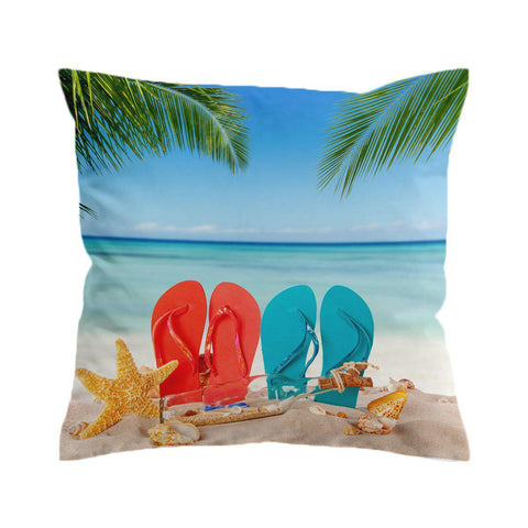 Flip Flops in the Sand Cushion Cover-🇦🇺 Australian Coastal Passion