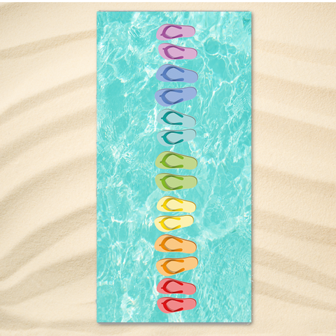 Coastal Beach Towel-Flip Flops Rainbow Extra-Large Beach Towel-Coastal Passion