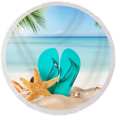 Coastal Round Beach Towel-Flip Flops On The Beach Round Beach Towel-Coastal Passion