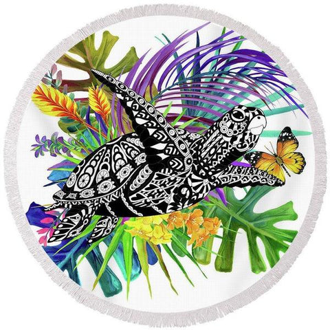 Coastal Round Beach Towel-Floating With A Tropical Butterfly Round Beach Towel-Coastal Passion