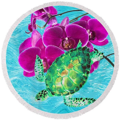 Floating With The Orchid Round Beach Towel-Round Beach Towel-Adult: 150 cm diameter-Australian Coastal Passion
