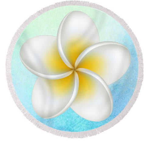 Coastal Round Beach Towel-Frangipani Flower Round Beach Towel-Coastal Passion