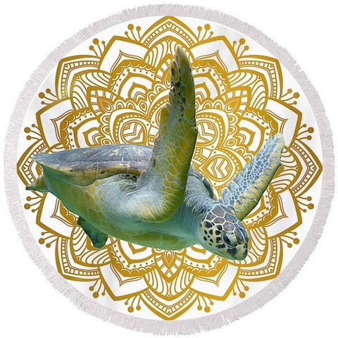 Golden Sea Turtle Mandala Round Beach Towel-Round Beach Towel-Adult: 150 cm diameter-Australian Coastal Passion