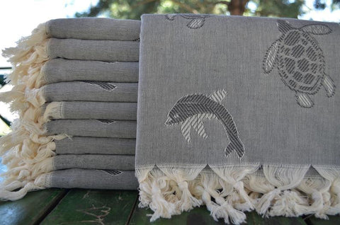 Coastal -Sea Turtles and Dolphins Gray 100% Cotton Towel-Coastal Passion