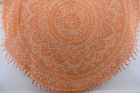 Coastal -Orange Mandala 100% Cotton Round Beach Towel-Coastal Passion