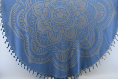 Coastal -Blue Mandala Round 100% Cotton Round Beach Towel-Coastal Passion