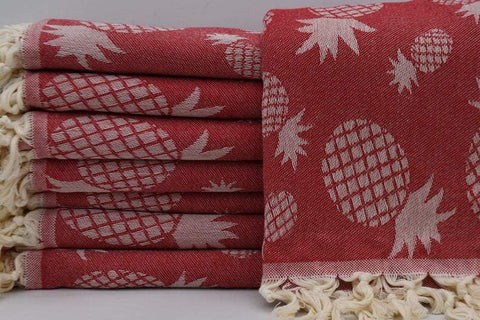 Coastal -Pineapple Red 100% Cotton Towel-Coastal Passion