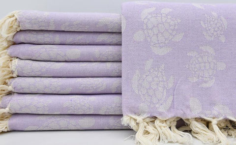 Coastal -Sea Turtle Purple 100% Cotton Towel-Coastal Passion