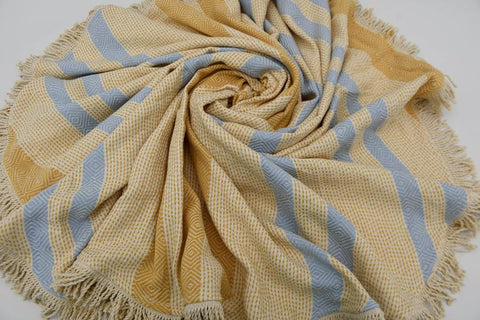 Coastal -Blue and Yellow 100% Cotton Round Beach Towel-Coastal Passion