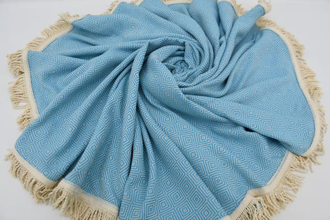 Coastal -Turquoise 100% Cotton Round Beach Towel-Coastal Passion