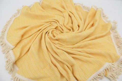 Coastal -Bright Yellow 100% Cotton Round Beach Towel-Coastal Passion