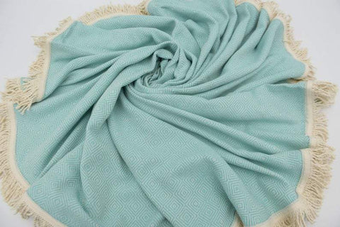 Coastal -Mint Green 100% Cotton Round Beach Towel-Coastal Passion