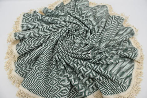 Coastal -Dark Green 100% Cotton Round Beach Towel-Coastal Passion