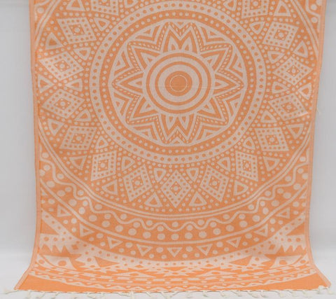 Coastal -Orange Mandala 100% Cotton Towel-Coastal Passion